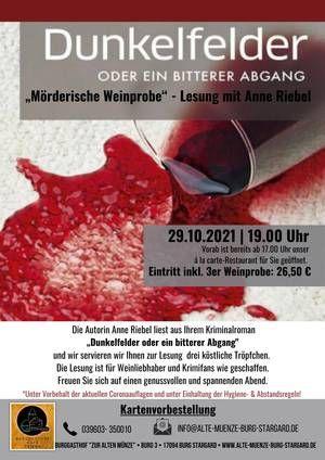 Mörderische Weinprobe - Lesung mit Anne Riebel Alte Münze